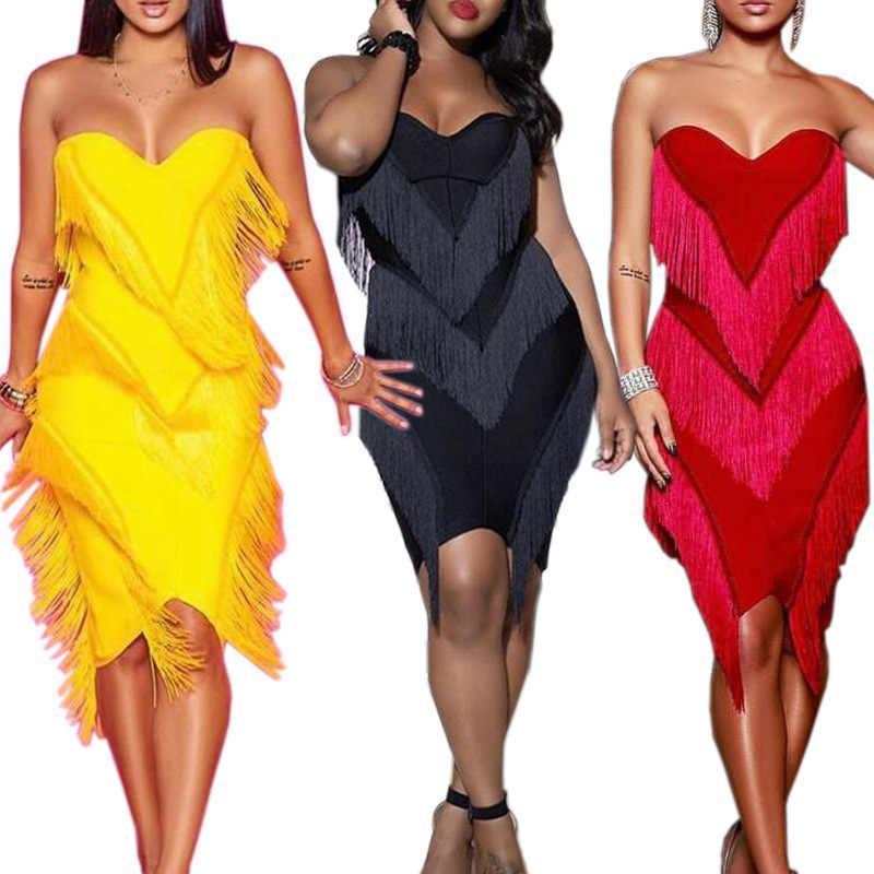 2019 ผู้หญิงใหม่ strapless plunging พู่ splicing เข่าความยาวเซ็กซี่ชุด midi club night bodycon ชุด 3 สี CY808