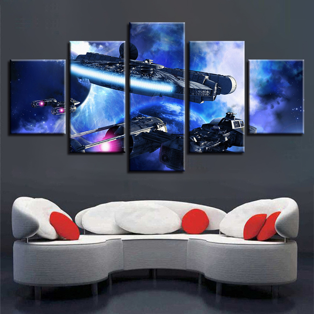 Framework HD Printed Modern Art Canvas Pictures Modular Poster 5 Pieces Star Wars Painting For Living Room Or Bedroom Wall Decor