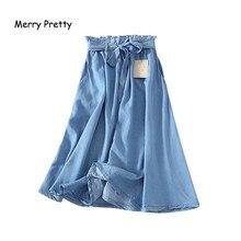 Merry Pretty Summer Women Tencel Blue Skirt Casual Ruffle Waist Waistband Bowknot Thin Jeans Skirts Denim A-line Long Saias S-XL