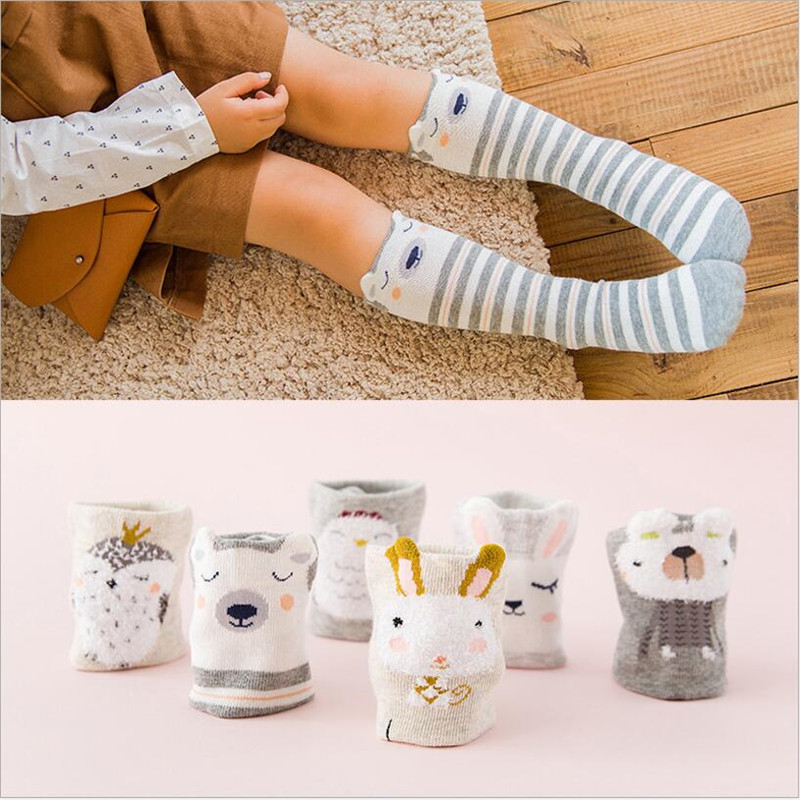 Cartoon Cute Children Socks Print Animal Cotton Baby Kids Socks Knee High Long bunny Socks For Toddler boy/girls leg warmer