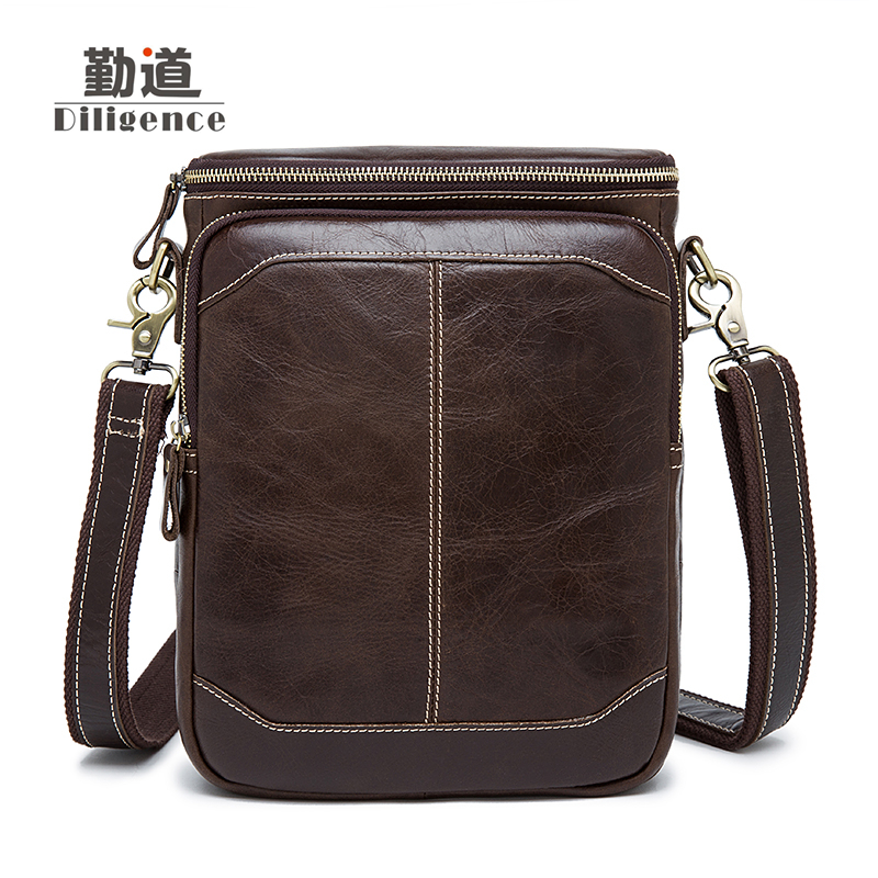 Men's Genuine Leather Bags Casual Vintage Postman Single Shoulder Bags chain head layer ox skin Messenger Bags High Quality Bags-in Crossbody Bags from Luggage & Bags    1