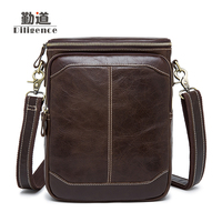 Men's Genuine Leather Bags Casual Vintage Postman Single Shoulder Bags chain head layer ox skin Messenger Bags High Quality Bags