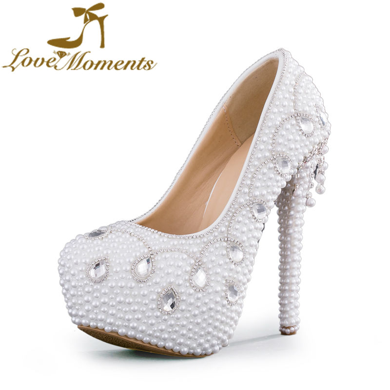 2018 Gorgeous Wedding Dress Shoes Pure White Pearl Women Party High Heel Anniversary Ceremony Event Pumps Rhinestone Heels pure white pearl wedding dress shoes gorgeous red rhinestone heart shape women pumps 3 inches high heel bride shoes event pumps