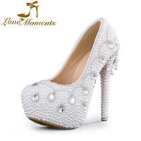 2016 Luxury Fashion Women S Pearl Crystal Rhinestone White Ivory Shoes Platform Brides Bridesmaid High Heels