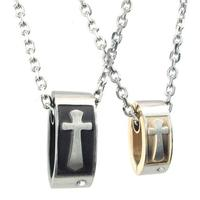 23 9 14mm Trendy Stylish Stainless Steel Lovers Pendant Necklaces Crystal Cross Couples Necklace With Chain