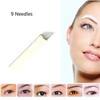 Tattoo needle 50pieces 9 pin Sterilized Stainless Steel 3D tattoo Embroidery Eyebrow Permanent Makeup Needles Blade Hot Sale