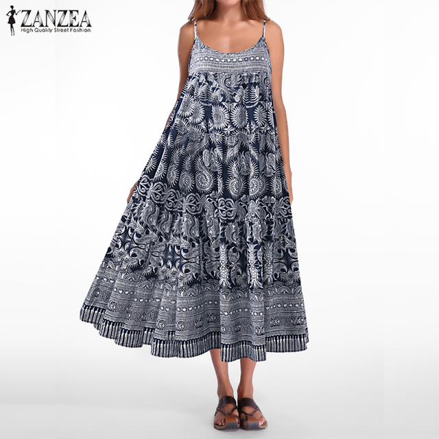 f1bb42a4913b3 US $16.35 30% OFF|Plus Size ZANZEA Women Strappy Sleeveless Loose Cotton  Linen Long Dress Casual Summer Vintage Floral Printed Party Beach  Vestido-in ...