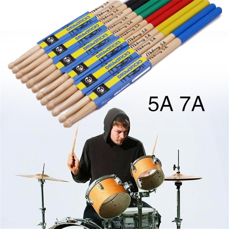 2 Pcs Drumstick 5a/7a Drum Sticks Anti-skid Hard Professional Wooden Drum Sticks Musical Instrument Music Band Accessories