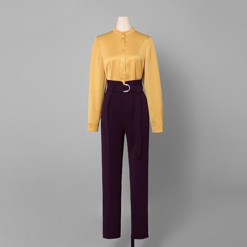 Taille De Multi Femmes Work Ceinturée Shirt Pièce Costume Bureau Tops Stand Haute Ensemble 2 Et D'affaires Mode Wear Pantalon Collar Ab181 YwRaqUwzx