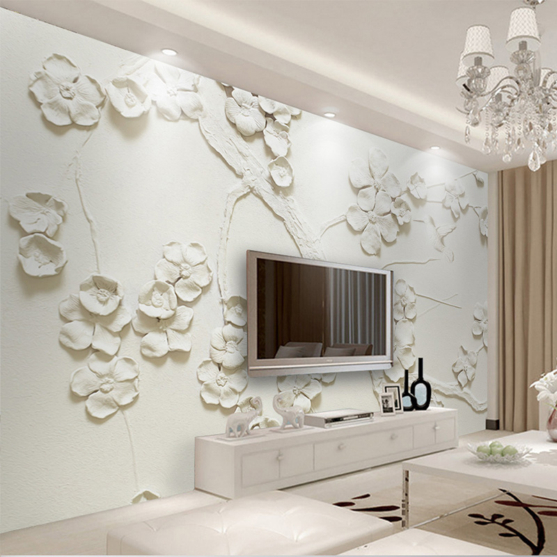 Custom 3D Mural Wallpaper Modern Embossed Plum Flower