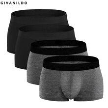 Givanildo 4 pc lot hombres cortocircuitos de los boxeadores de la Ropa  Interior para los hombres 95% algodón suave Bokser grande. 79819de89fb9