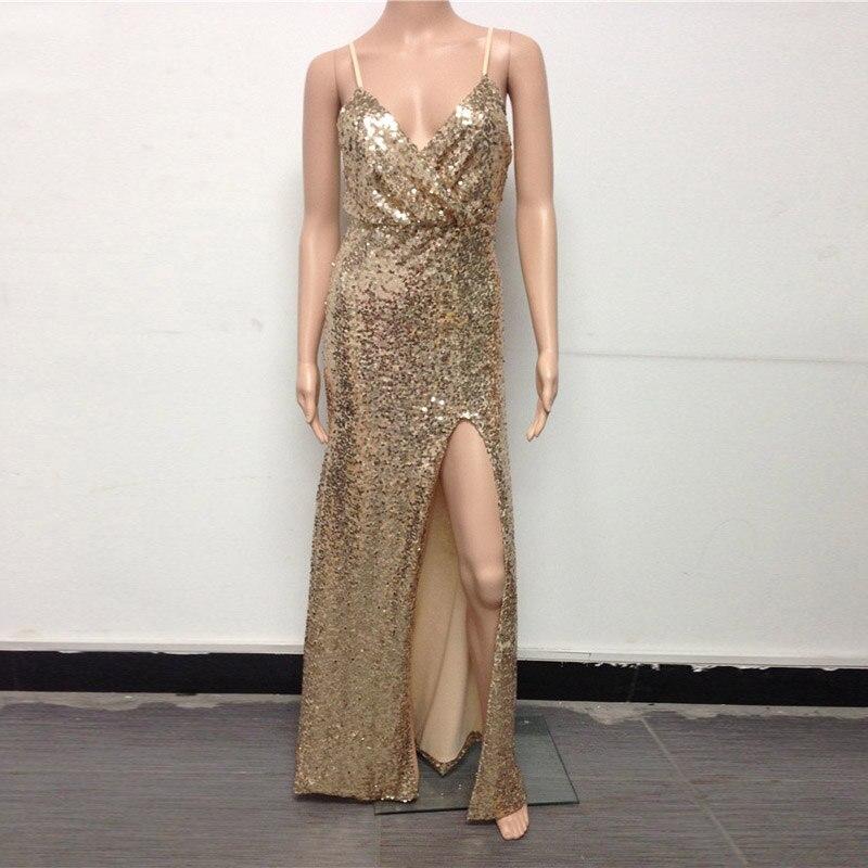db0a9c24ecc3b US $22.99 30% OFF|2019 Gold Sequin Maxi Dress Elegant Evening Paillette  Robe Sexy high slit Bustier Dress spaghetti strap v neck mermaid dresses-in  ...