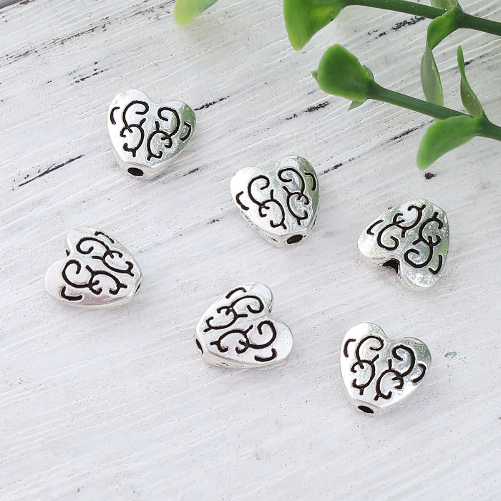 DoreenBeads Zinc Based Alloy Antique Silver Spacer Beads Heart Carved DIY Components 10mm x 10mm, Hole: Approx 1.5mm, 50 PCs