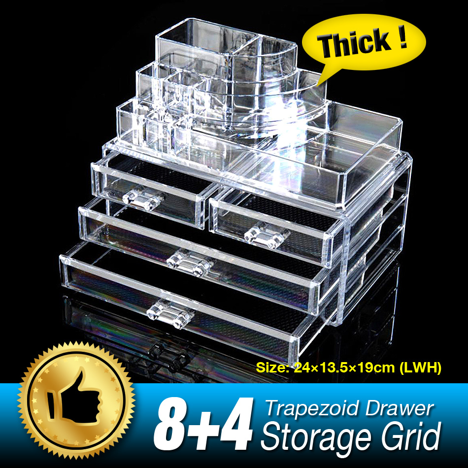 Cheap+ 12 Grids 4 Layer Drawers Organizer Storage Box Makeup Case jewelry Display Stand Clear Acrylic Multifunction Rack large box acrylic makeup cosmetic case stand insert holder rack organizer glossy makeup organizer 3 layer drawers transparent