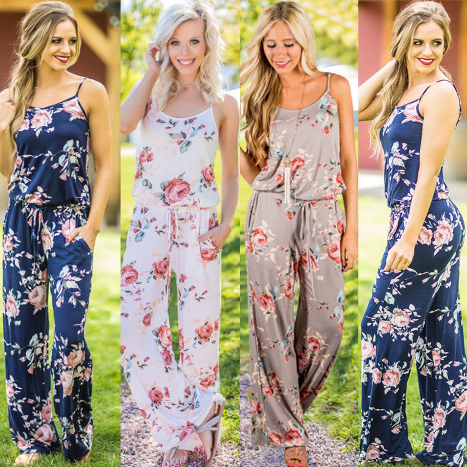 MAYFULL Women bohemia summer floral sleeveless strapless ...