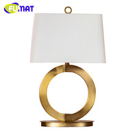 American Country Vintage Living Room Gold Metal Ring Table Lamp with Fabric Lampshade Bedside Desk Lamp for Study