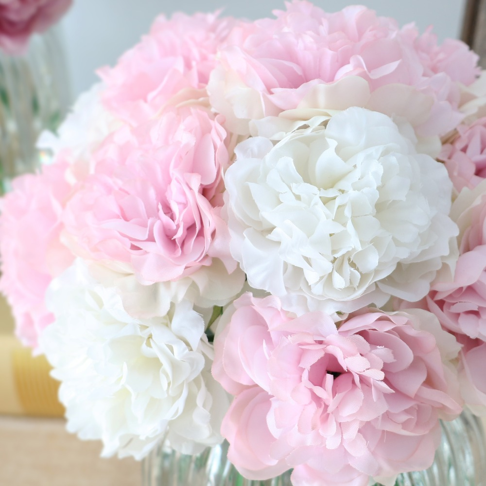 10pcs Cute Silk Artificial Flowers Cheap Hydrangeas Peony Flower