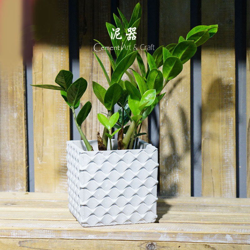 3D Relief Geometry Wave Square Cement Planter Flower Pot Silicone Mold Concrete Multi-meat Green Plant Mold