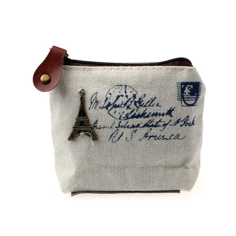 Hot Girl Retro Coin Bag coin purse woman Wallet Card Case Handbag Gift Eiffel Tower drop shipping wallet