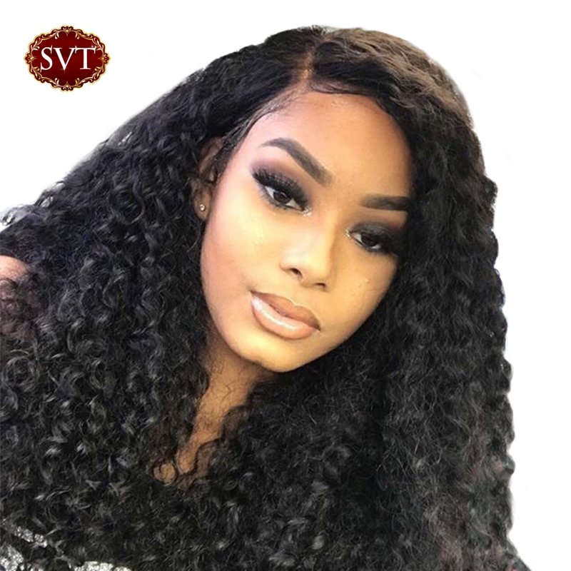 SVT Hair Lace Front Human Hair Wigs Malaysian Wig Pre Plucked Remy Curly Human Hair Wig