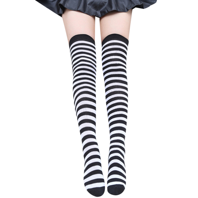 c24493181 Fashion Striped Knee Socks Women Cotton Thigh High Over The Knee Stockings  For Ladies Girls Warm Long Stocking Sexy Medias