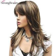 StrongBeauty damska peruka syntetyczna długa prosta warstwowa fryzura brązowa z blond podkreśla pełne peruki
