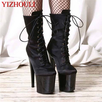 Waterproof platform women's shoes 20 cm high heel boots, sky high black boots, model pole dancing shoes image