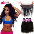 Brazilian Virgin Hair with Closure Ear to Ear Lace Frontal Closure with Bundles Afro Kinky Curly Weave Human Hair with Closure