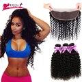 Orelha a Orelha Rendas Frontal Cabelo Virgem brasileiro com Fecho encerramento com Bundles Afro Kinky Curly Weave Do Cabelo Humano com fechamento