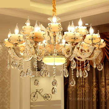 SHIXNIMAO Luxury Simulated Jade LED Crystal Chandeliers Lighting Fixtures With 6 Arms 8 Arms 15 Arms lamp Crystal Chandelier