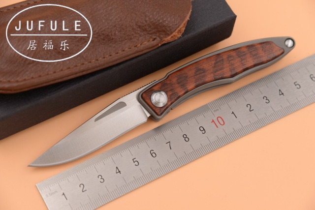 JUFULE Made Mnandi M390 Blade snake wood Titanium handle folding copper washer hunt camp Pocket Survival EDC Tool kitchen knife