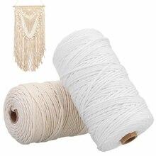 1/2 /3mm Diameter White Beige 200m Cotton Cord Rope Craft Macrame Artcraft String DIY handmade Tying Wire