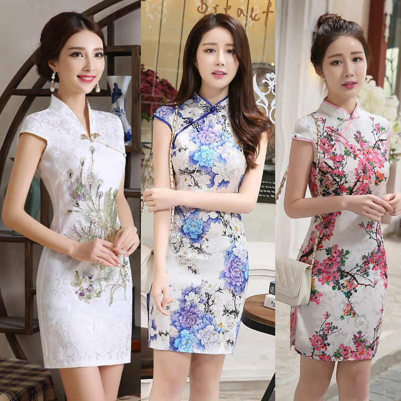 SHENG COCO New Satin Women's Traditional Chinese Cheongsam Dresses Vestido Printing Stand Collar Short Sleeve Silk Plus Size 4XL