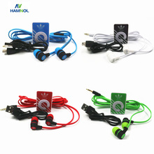 HAMNOL 4 Set/Lot MP3 Clip Portable Support Micro SD Card MP3 Music Player Fashionable Stereo Earphone Micro USB Charging Cable