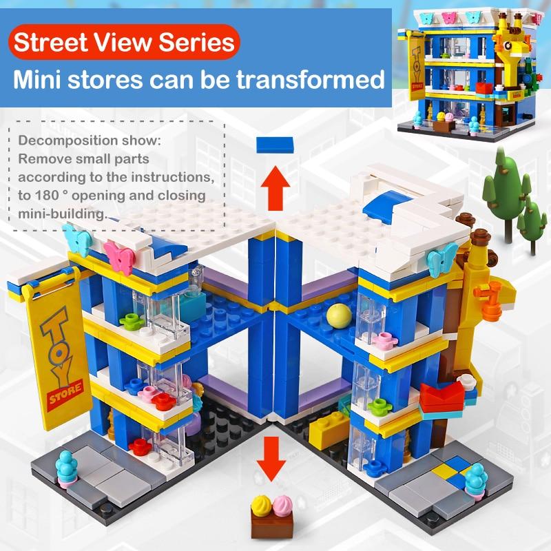 New 6 Sets Toys Street Series Train Station Car Garage City Bank Hotel Music