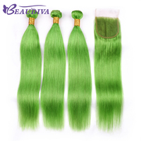 Beaudiva Pre Colored Green Straight Hair Bundles With Closure 100% Remy Brazilian Human Hair Bundles With Closure 4*4 Hair Weave