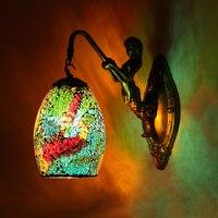 Retro duvar lambası yaratıcı yatak odası mermaid duvar lamba cafe bar koridor koridor mozaik lekeli cam duvar lambası Ev Dekorasyon Için