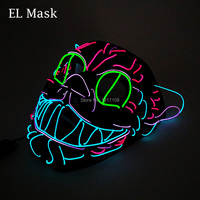 Hot Sale 1 piece Sound Activated EL Wire Cat mask Halloween mask LED Cool Men Gift Glowing festival Wedding Party masks
