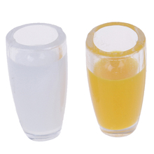 4Pcs Mini Resin Water Cup Orange Fruit Juice Milk Decoration Gifts 1:12 Dollhouse Miniature Doll house  Cups Furniture Toy