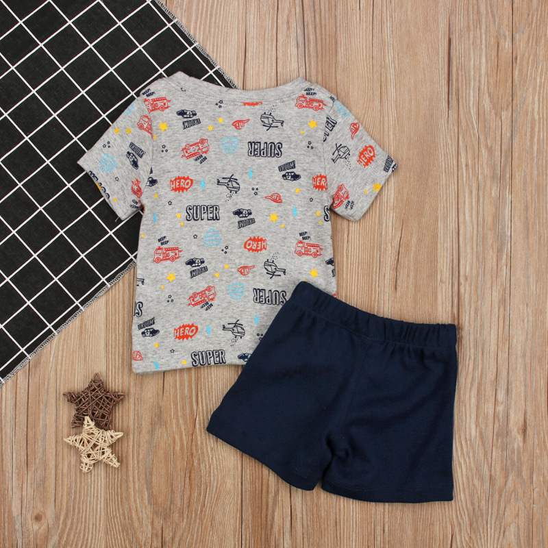 Brand Baby Boys Clothes Sets Helicopter Car T Shirts+Shorts 2 Pcs Suits for Boys Kids Clothing Short Sleeve T Shirts Sets