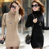 Free Shipping 2016 New 6 Colors Winter Women Sweater Korean Turtleneck Middle Long Thick Slim Fit