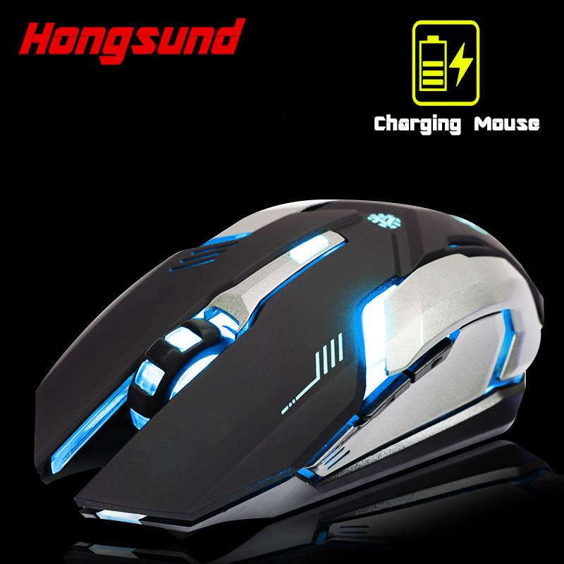 Hongsund Rechargeable Wireless Gaming Mouse 7-color Backlight Breath Comfort Gamer Mice Silence Built-in Lithium Battery 1