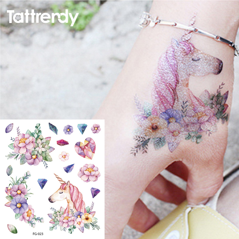 1Sheet Glitter Colorful Flash Tattoo Waterproof Temporary Tattoo Stickers Cartoon Cute Unicorn Cat Flowers Decal Children Gifts
