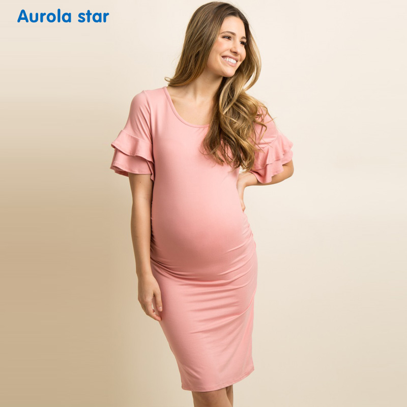 441302533a6 Summer Maternity Ruffle Dress Baby shower Party Dress Pregnancy Dresses For Pregnant  Women Casual Layered Ruffle Party Dress New-in Dresses from Mother ...
