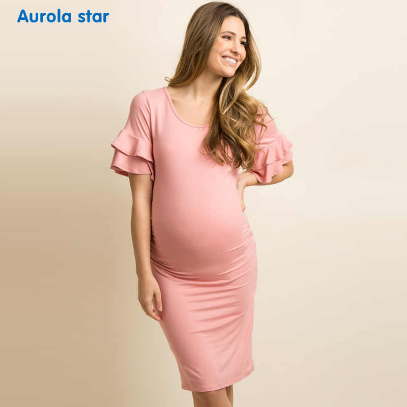 Yaz Hamile Fırfır Elbise Bebek duş Parti Elbise Gebelik Hamile Kadınlar Için Rahat Katmanlı Fırfır Parti Elbise Yeni