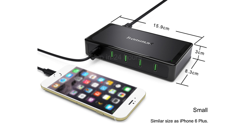 Qualcomm Certified Tronsmart Titan UC5F 5 Ports Quick Charge 2.0 USB Smart Desktop Charger QC2.0 90W Turbo Charge Fast Charging 3
