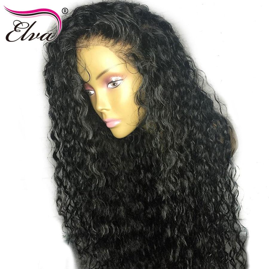 360 Lace Frontal font b Wig b font Elva Hair Curly Human Hair font b Wigs