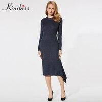 Kinikiss Women Elegant Asymmetric Dress Knitted O Neck Long Sleeve Mid Calf Dress Lady Office Dark