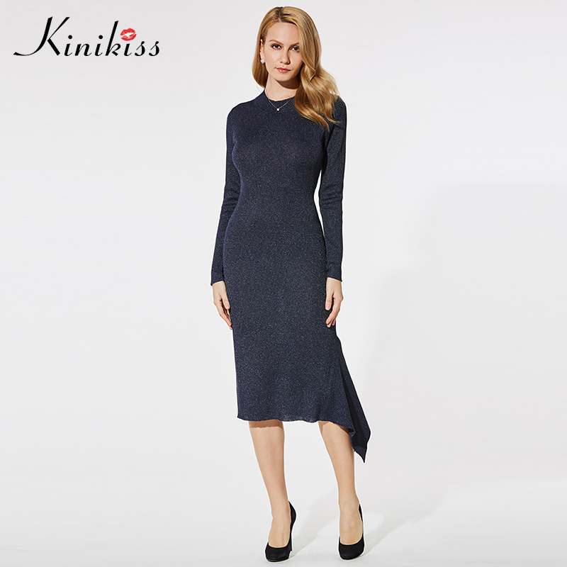 Kinikiss Women Elegant Asymmetric Dress Knitted O Neck Long Sleeve Mid-Calf Dress Lady Office Dark Blue Bodycon Knitted Dresses dark blue round neck plaid womens long sleeve dress