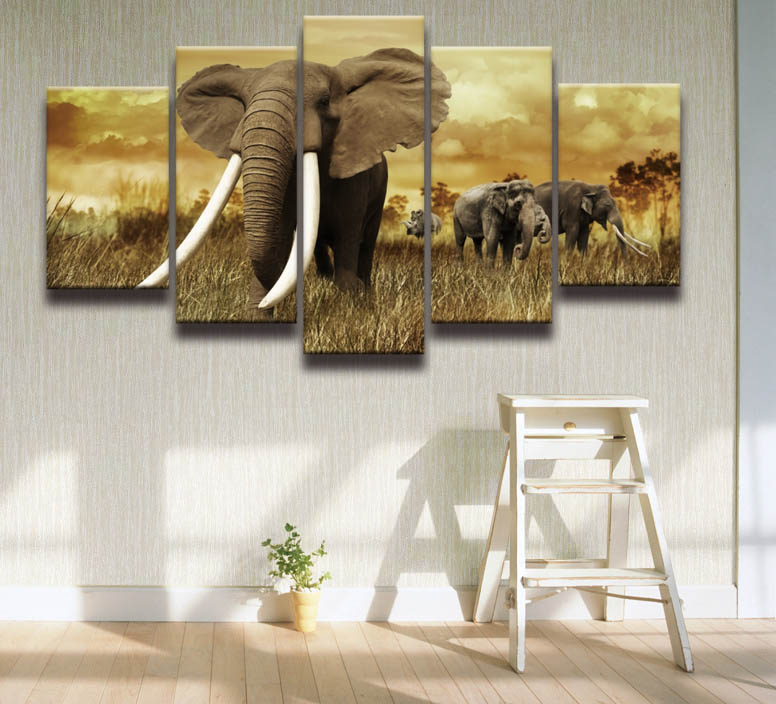 2017 paintings cuadros african elephant picture canvas art frames 5 panels wall pictureschina